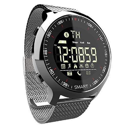 Relógio Lokmat smartwatch esportivo masculino, smartwatch à prova d' água com pedômetro, bluetooth e lembrete de mensagem, para natação e área externa, celular ios e android (Prata-Aço-Inoxidável)