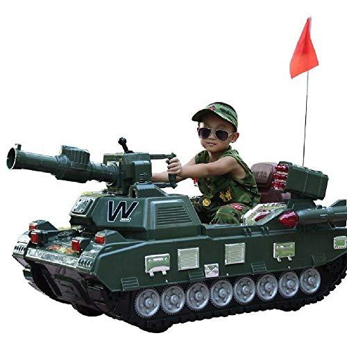 XSLY 1.32M bambini del carro armato elettrico giro possibile lanciare una palla da tennis da tavolo, doppia trazione carro a quattro ruote può sedere fuori strada di telecomando giocattolo Mount Bambi