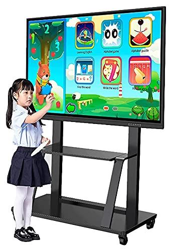 TabloKanvas Soporte de TV ajustable para TV de 55 pulgadas + con almacenamiento rodante/móvil TV carro en ruedas, soporte giratorio para TV (color negro)