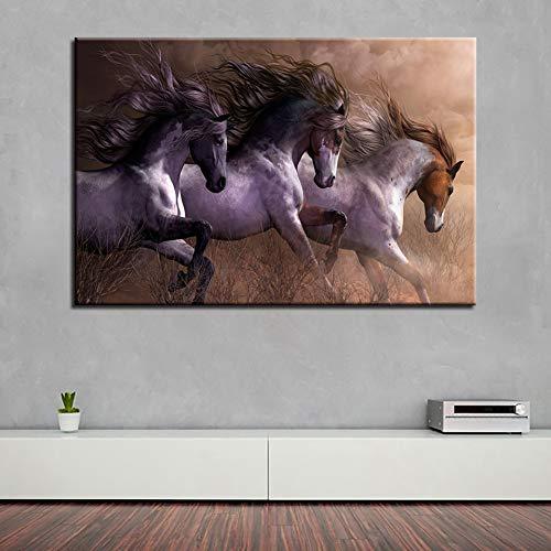 WOKCL Cuadro en Lienzo HD Prints Home 1 Unidades Animal Decorativo Pintura Caballo Arte de la Pared Modular para el Fondo de la cabecera Imágenes Cartel de la Obra de Arte