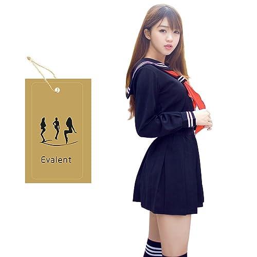 4fcdfd27677 Evalent Japanese Sailor Suit Cosplay Costume Set Navy Sailor School Uniform Dress  Suit