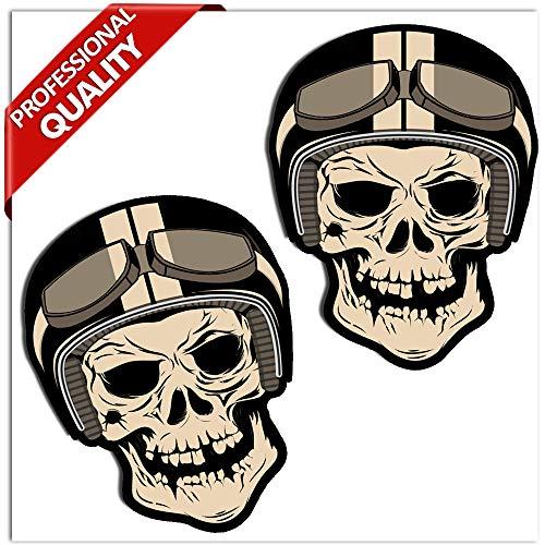 SkinoEu® 2 Stück Vinyl Aufkleber Autoaufkleber Skull Schädel Totenkopf Funny Horror Stickers Auto Moto Motorrad Fahrrad Helm Fenster Tür Tuning B 49