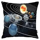 FULIYA Pillowcases,Solar System All Eight Planets and The Sun Pluto Jupiter Mars Venus Science Fiction,Decorative Square Accent Throw Pillow Cushion Cover,18'x 18'