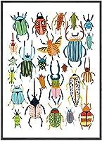 北欧の手描きのカブトムシキャンバス絵画昆虫の壁アートポスタープリントモダンなリビングルームの家の壁の装飾の写真