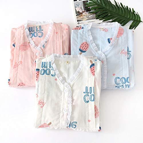 Ycxydr Pijama Maternal Chun Xia Yuezi Ropa de enfermería Pijama de Servicio algodón Tejido cordón de la Gasa V-Cuello del Juego de Pantalones de Manga Larga Albornoz (Color : Pink, Size : L)