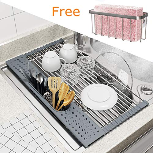 """BAMEOS Roll Up Dish Drying Rack Over The Sink 20""""L x 11""""W x 472""""H Foldable Stainless Steel Dish Drying Rack with Utensil Holder amp Sponge Holder for Kitchen Sink Gray"""