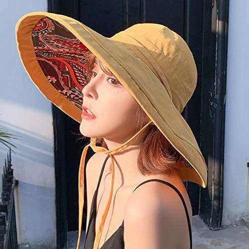Yidajiu Hoeden voor Vrouwen Zomer Zon Hoed Floppy Grote Brede Brim Gezicht Bescherming Strand Hoed Vrouwelijke Dames Zonnehoed Geel