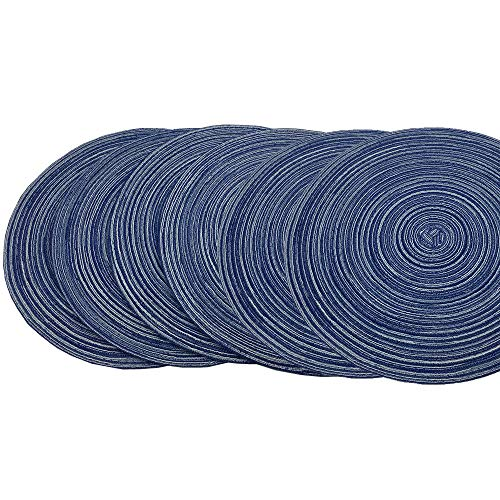 Red-A,Placemats,Round Placemats for Dining Table Set of 6 Woven Heat Resistant Non-Slip Kitchen Table Mats Diameter 14 inch(Blue)