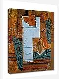 Jarrón de frutas y racimo de uvas de Pablo Picasso Cuadro Decoración Pared Cuadros Para Dormitorios Modernos Lienzo Cuadros Decorativos Decoracion de Salones (50x65cm20x26inch, enmarcado)