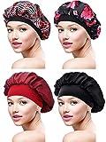4 Stück Satin Mütze Schlafmütze Weiche Nachtmütze Kopfhaube für Damen Mädchen (Farbe Satz 2)