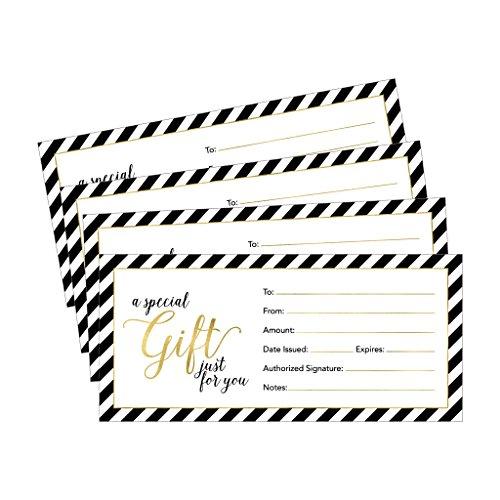 Geschenkkarten für Geschäft, Restaurant, Spa, Beauty Make-up, Friseursalon, Hochzeit, Babyparty, personalisierbar, bedruckbar, 4 x 9 cm, 25 Stück