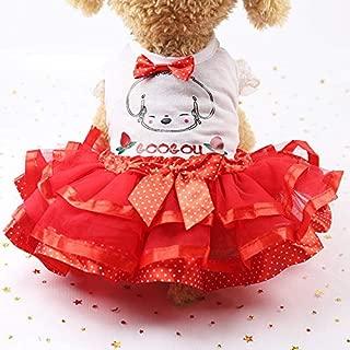 Beyonds Puppy Dog Dress, Bow Tutu Lattice Dress 2019 New Cute Summer ♥ Dress Dog Harness Lace Skirt Princess Clothes Pet Cat for Small Dog Apparel Clothes