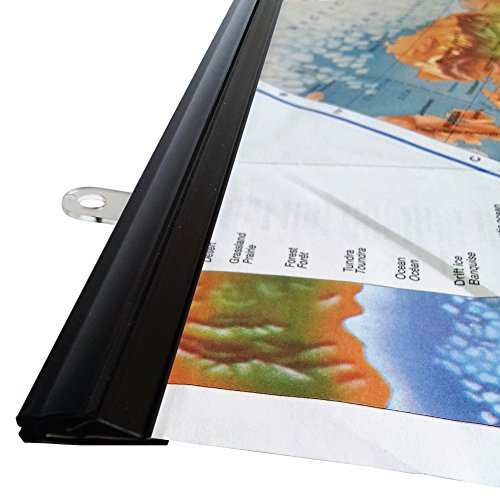 goKelvin 24 Inch Hanging Rails for Posters, Signs, and Maps (Black)