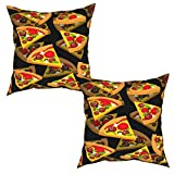 JTGEIKOP Throw Pillow Covers Pizza 3D 18 x 18 inches Square Pillow Covers Throw Pillow Cases Set Cushion Case for Sofa Bedroom Car All Seasons 2 Pack