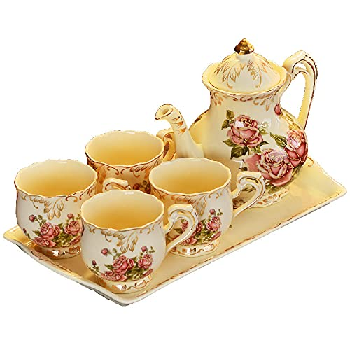 Ceramic Tea Sets For Adults Porcelain Tea Cup Set Coffee Cup And Saucer Sets Afternoon Tea Set Service Old Country Roses Wedding Tea Service For Adults