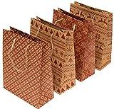 Geschenktüten Weihnachten | Papierbeutel | Kraftpapier Geschenkverpackung mit Muster | 12 Papiertüten je 18 x 23 x 8 cm