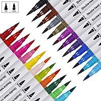 Rotuladores Pincel, Plumas de Doble Punta Fina para Dibujar y Colorear, Brush Pen 24 Colores con Efectos Acuarela para Pintura de Caligrafía, Lettering, Manga, Comic