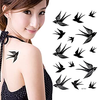 HuntGold 2X Popular Swallow Bird Flash Removable Waterproof Temporary Tattoo DIY Body Art Sticker