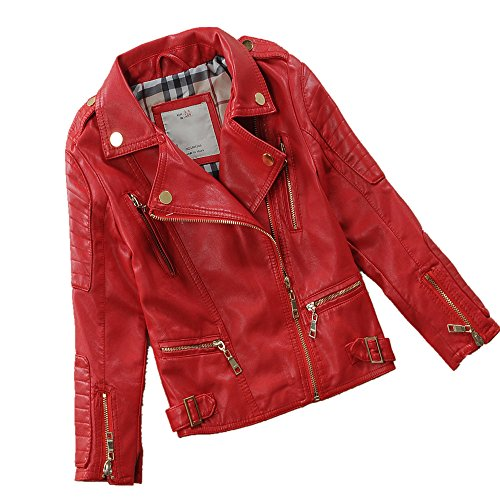 LJYH Child's Spring Autumn Lapel Motorcylce Faux Leather Jacket Multicolor Red