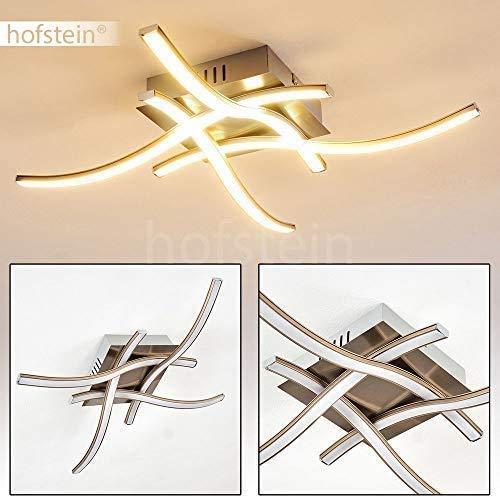 LED Deckenleuchte Casale, quadratische Deckenlampe in Nickel-matt mit 4 geschwungenen Lichtleisten, 19,2 Watt, 1400 Lumen, Lichtfarbe 3000 Kelvin (warmweiß)