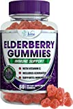 Sambucus Elderberry Gummies Adults Kids - 200mg (Double Strength) with Vitamin C and Echinacea Immune System Support Booster Gummy All Natural, 60 Gummies
