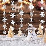 Matogle 3er hängende weiße Papier Schneeflocken 3 x 3 Meter Weihnachten 3D Girlande Schneeflocken Deko zum aufhängen, wiederverwendbar und dekorativ, für Winterparty Outdoor Neujahr Hochzeit