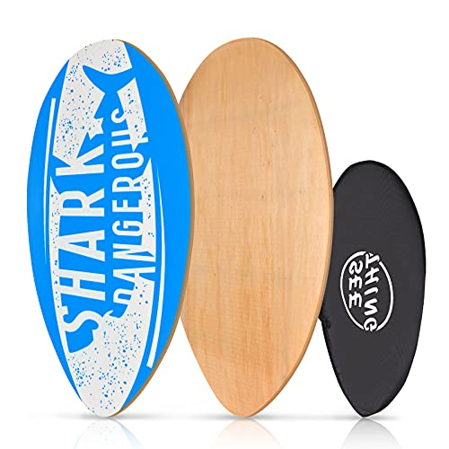 seething 35 Inch Skimboard with High Gloss Coat | Wood Skim Board for Kids, Teenagers, and Adults Shark