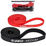 Iako Pull Up Assist Band, Perfect Rubber Band for Pullup, Chin Ups, Resistance Crossfit Bands for Stretch, Mobility, Workout - Training Body, WOD Fitness Bands, Set of 2 Medium - Light Exercise Bands