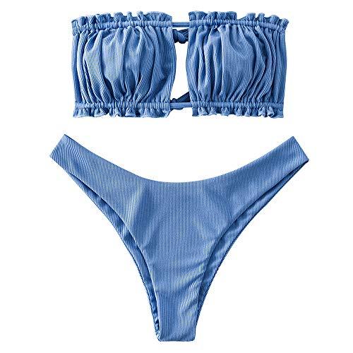 ZAFUL Women's Strapless Ribbed Tie Back Ruffle Cutout Bandeau Bikini Set Swimsuit (Silk Blue, S)