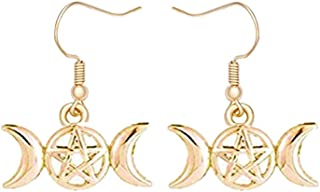 Jeni-Sely Antique Silver Triple Goddess Moon Pentacle Star Dangle Earrings