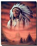 Indian Chief w/Tepee Native American Poster/Kunstdruck (40