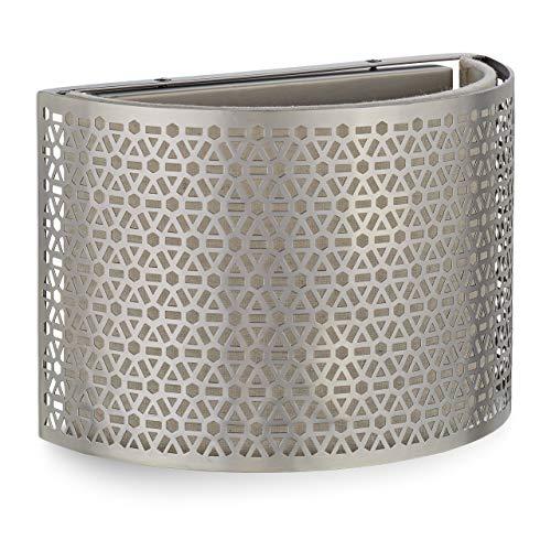 Relaxdays, zilveren wandlamp, halfrond, 1 lamp, wandlamp aan beide zijden, E14, ijzer, linnen, HxBxD: 17 x 25 x 12,5 cm