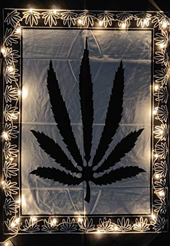 ICC Weed Tapestry Marihuana Wandbehang Blatt Poster Cannabis Hippie Dekor Topf Flagge Collage Wohnheim Trippy Bohemian Art Psychedelisch Kleiner Günstige Wandteppiche 137,2 x 152,4 cm (Schwarz)