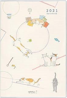 デザインフィル ミドリ ポケットダイアリー 手帳 2021年 B6 ウィークリー ネコ柄 22029006 (2021年 1月始まり)