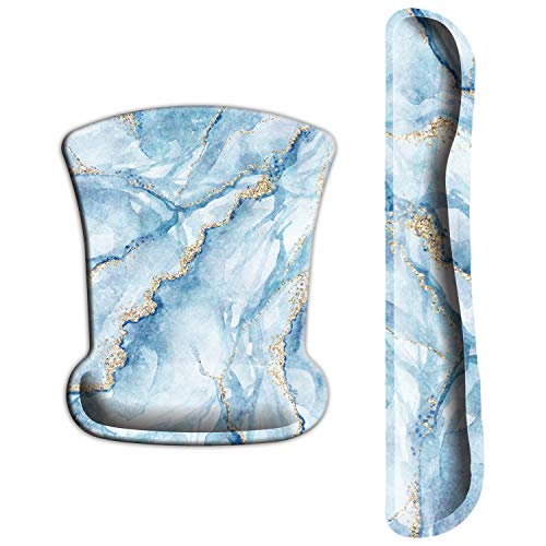 ITNRSIIET Upgraded Ergonomic Keyboard Wrist Rest and Mouse Wrist Rest Pad Set, Wrist Pad with Non-Slip Base for Computer, Laptop, Gaming, Working, Easy Typing & Pain Relief, Blue Marbling