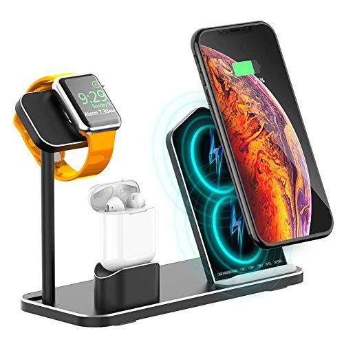 LIAO Caricatore Senza Fili, 3 in 1 Stazione di Ricarica Senza Fili per iPhone X / 8 Plus/XS Max/XR iPad Airpods iWatch Serie 4/3/2/1 e Samsung Note 8 / S8 / S9 più