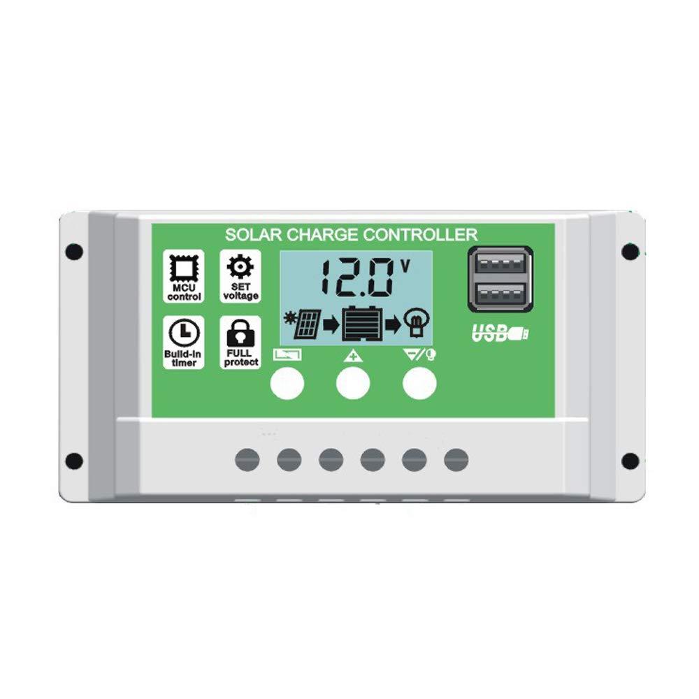 Y&H 30 A para batería de plomo/litio de 12 V y 24 V con pantalla LCD de retroiluminación Controlador de carga de panel solar de USB doble y ajuste de temporizador Horas de encendido/apagado