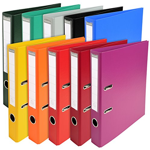 Exacompta - Réf. 53054E - Carton de 10 Classeurs à levier -PVC- Dimensions 32x29 cm pour format A4 - Dos de 50 mm - Couleurs bleu, bordeaux, fuchsia, gris, jaune, noir, orange, rouge, vert, vert foncé