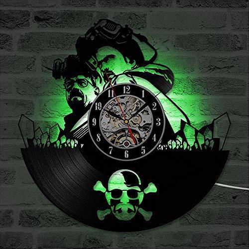Hollow Breaking Bad CD Record Reloj Creative Vinyl Wall Clock Reloj De Pared Único Y Hecho A Mano Que Cuelga Led con 7Colors No Led