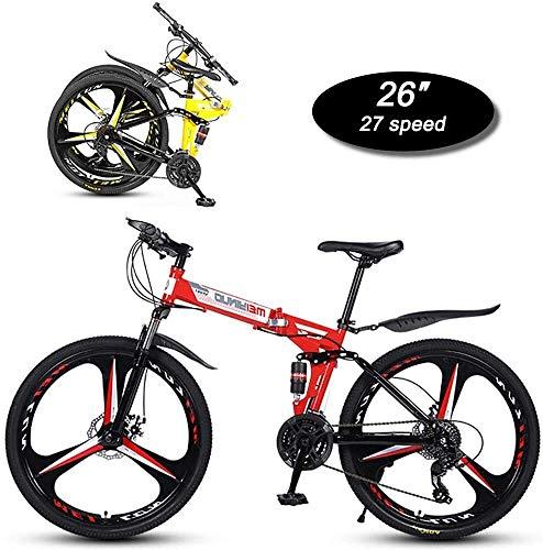 Mountainbikes Folding Mountain Bike, 26-Zoll-3-Messer Einer-Rad-27-Gang Mechanische Zweischeibenbremse Dual Shock Absorber Adult Außen Off-road Bike für enwachsene Jugendfahrrad ( Color : B-red )