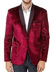 men in class Maroon Colour Self Style Velvet Regular Fit Party Wear Mens Blazer