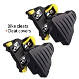 LANNIU Road Bike Cleats+Cleat Covers Set,Compatible with Shimano SPD-SL Pedals SM-SH11 Cleats,6 Degree