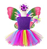 Tutu Dreams Fairy Princess Costume for Girls Wings Set Birthday Christmas Party Easter 5-6Y (L) Purple