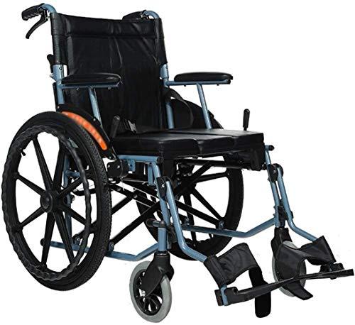 Silla de ruedas eléctrica plegable Transporte de aluminio silla de ruedas con asiento 46cm - plegable for sillas de ruedas for el transporte y almacenamiento - 22 pulgadas las ruedas traseras for un p
