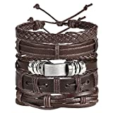 Shining Diva Fashion Combo Stylish Base Metal Multi Strand Leather Bracelet for Men (Brown , 9905b)