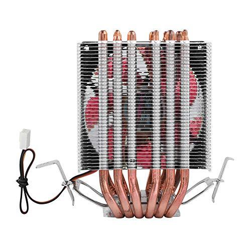Goshyda Ventilador de refrigeración de CPU para PC, disipador de Calor de Enfriador multiplataforma con 6 Tubos de Calor y Tubo de Calor en Forma de U, para Intel Lag1156 / 1155/1150/775(Rojo)