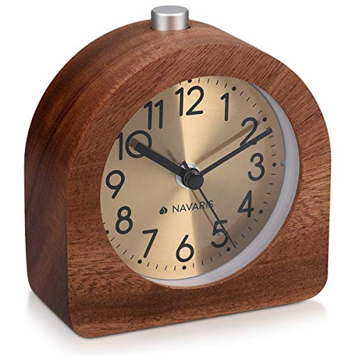 Navaris Analogue Wooden Alarm Clock - Retro Table Clock with Half Round Design, Snooze Function, Alarm, Gold Face Light - Natural Wood in Dark Brown