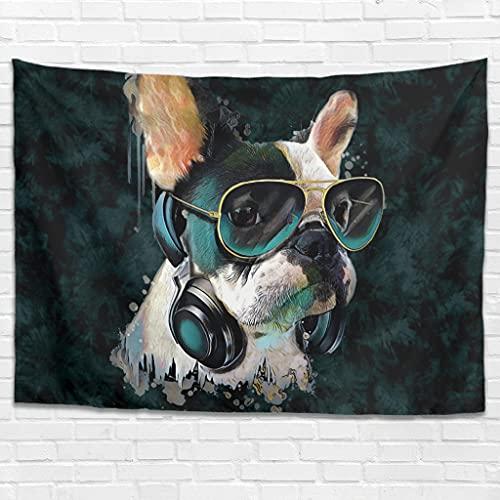 Tapiz de pared con diseño de perros y animales, para colgar en la pared, para dormitorio, salón, como toalla de playa, esterilla de yoga, color blanco, 230 x 150 cm