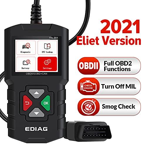EDIAG Escáner de Motor OBD2, YA201,Maquina Diagnosis Coche Herramientas, Lector de Código de Falla, verificación de Smog, Cuadro Congelado, Datos en Vivo, Prueba de Estado de la Batería en el