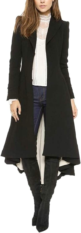 Women Fashion Long Dovetail TurnDown Collar Trench Coat Gothic Clothing